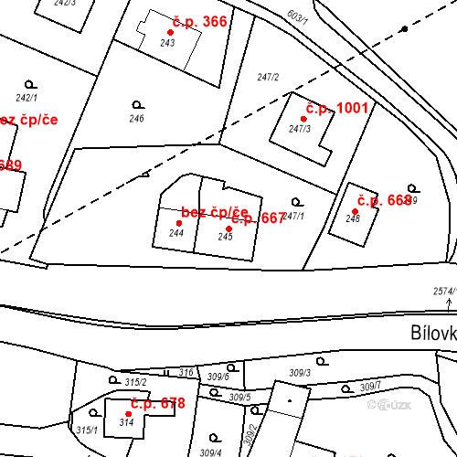 Katastrální mapa Stavební objekt Bílovec 667, Bílovec