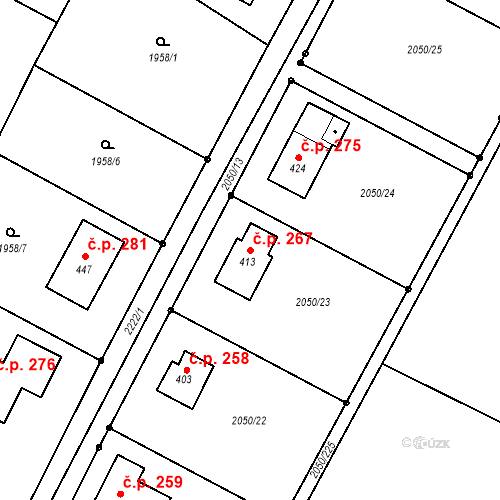Katastrální mapa Stavební objekt Tísek 267, Tísek