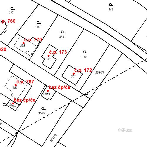 Katastrální mapa Stavební objekt Bílovec 172, Bílovec