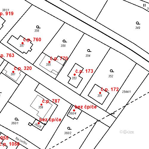 Katastrální mapa Stavební objekt Bílovec 173, Bílovec