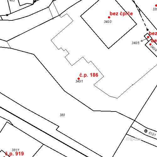 Katastrální mapa Stavební objekt Bílovec 186, Bílovec
