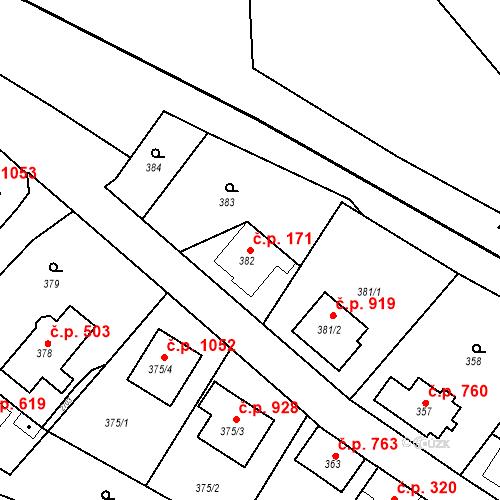Katastrální mapa Stavební objekt Bílovec 171, Bílovec