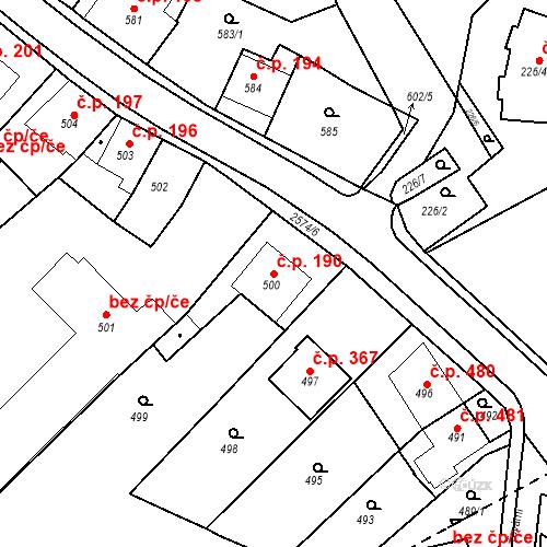 Katastrální mapa Stavební objekt Bílovec 190, Bílovec