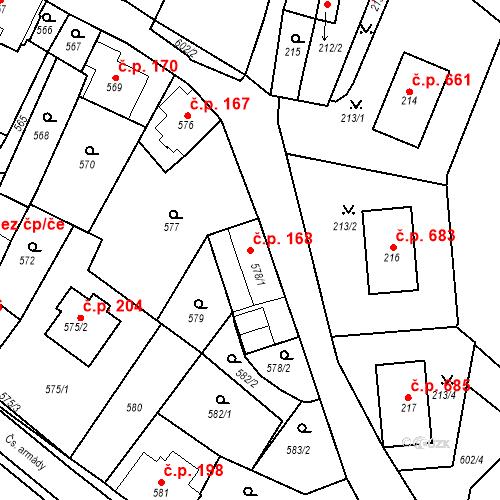 Katastrální mapa Stavební objekt Bílovec 168, Bílovec