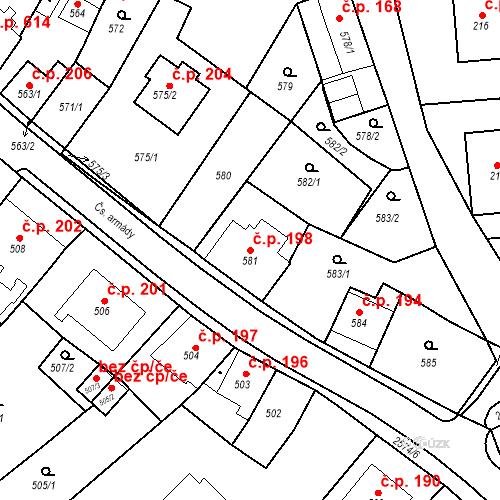 Katastrální mapa Stavební objekt Bílovec 198, Bílovec