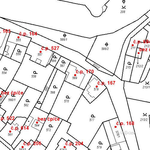 Katastrální mapa Stavební objekt Bílovec 170, Bílovec