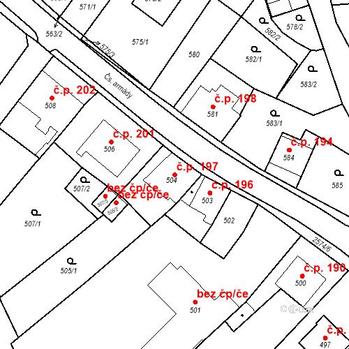 Katastrální mapa Stavební objekt Bílovec 197, Bílovec