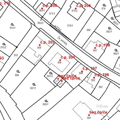 Katastrální mapa Stavební objekt Bílovec 201, Bílovec