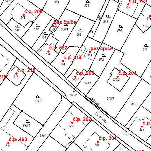 Katastrální mapa Stavební objekt Bílovec 206, Bílovec