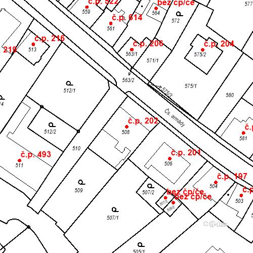 Katastrální mapa Stavební objekt Bílovec 202, Bílovec