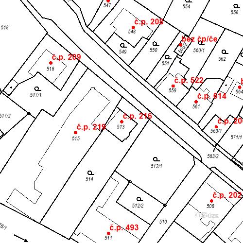 Katastrální mapa Stavební objekt Bílovec 216, Bílovec