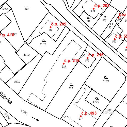 Katastrální mapa Stavební objekt Bílovec 219, Bílovec
