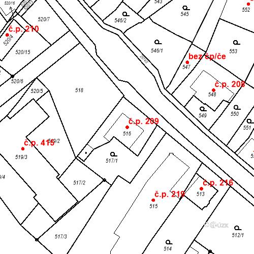 Katastrální mapa Stavební objekt Bílovec 209, Bílovec