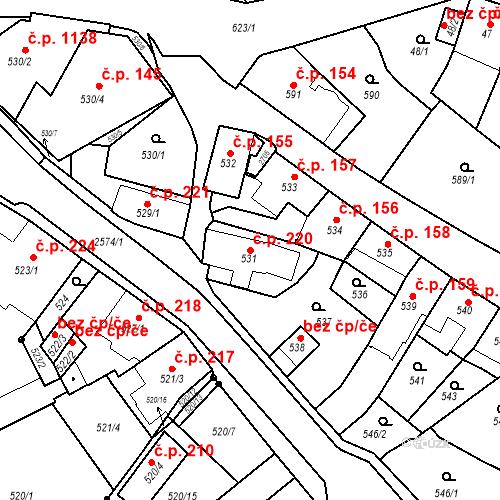 Katastrální mapa Stavební objekt Bílovec 220, Bílovec
