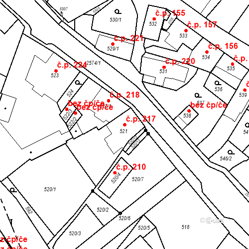Katastrální mapa Stavební objekt Bílovec 217, Bílovec