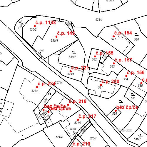 Katastrální mapa Stavební objekt Bílovec 221, Bílovec