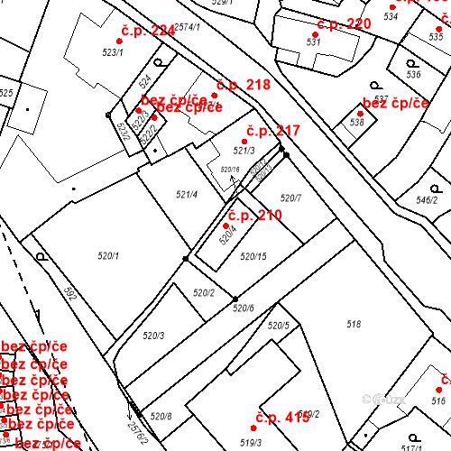 Katastrální mapa Stavební objekt Bílovec 210, Bílovec