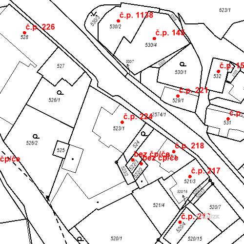Katastrální mapa Stavební objekt Bílovec 224, Bílovec