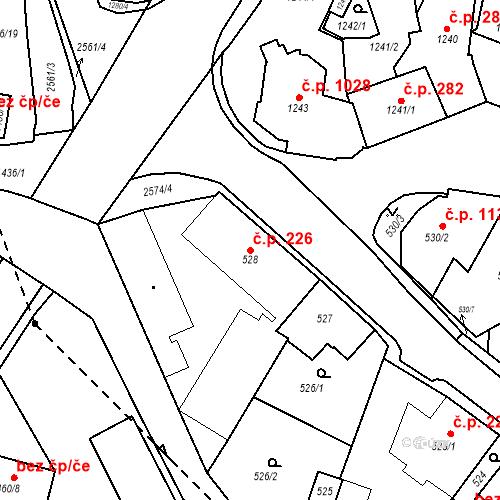 Katastrální mapa Stavební objekt Bílovec 226, Bílovec