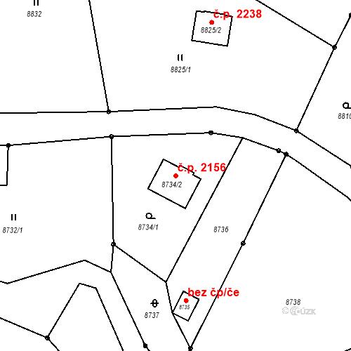 Katastrální mapa Stavební objekt Vsetín 2156, Vsetín