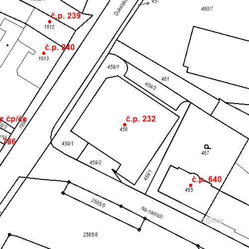 Katastrální mapa Stavební objekt Bílovec 232, Bílovec