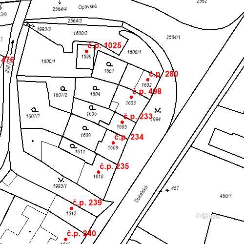 Katastrální mapa Stavební objekt Bílovec 233, Bílovec