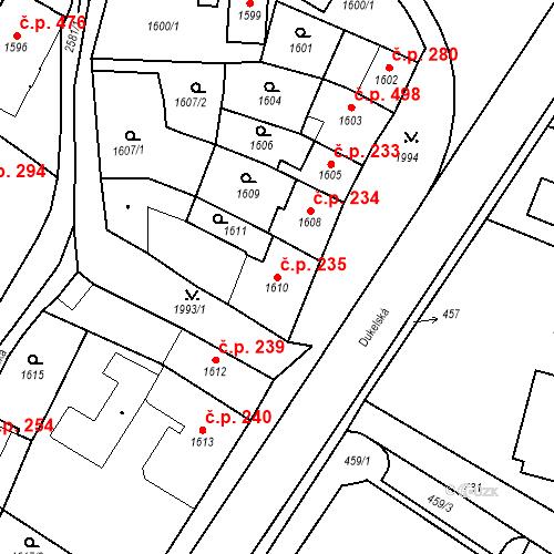 Katastrální mapa Stavební objekt Bílovec 235, Bílovec