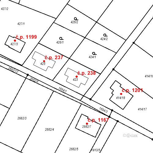 Katastrální mapa Stavební objekt Bílovec 238, Bílovec