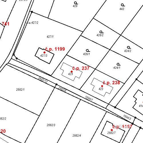 Katastrální mapa Stavební objekt Bílovec 237, Bílovec