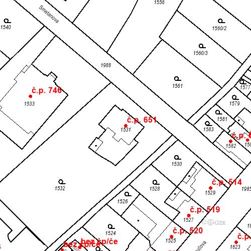Katastrální mapa Stavební objekt Bílovec 651, Bílovec