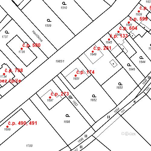 Katastrální mapa Stavební objekt Bílovec 174, Bílovec