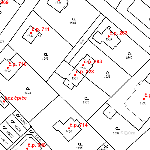 Katastrální mapa Stavební objekt Bílovec 228, Bílovec