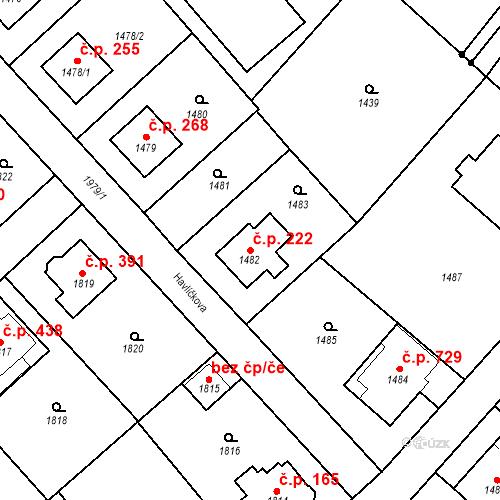 Katastrální mapa Stavební objekt Bílovec 222, Bílovec