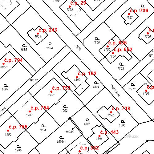 Katastrální mapa Stavební objekt Bílovec 192, Bílovec