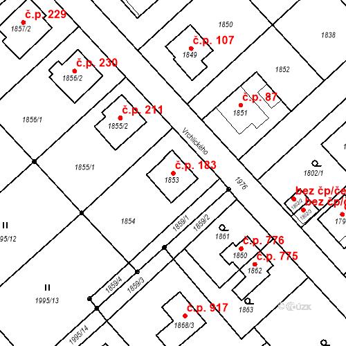 Katastrální mapa Stavební objekt Bílovec 183, Bílovec