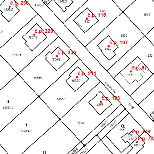Katastrální mapa Stavební objekt Bílovec 211, Bílovec