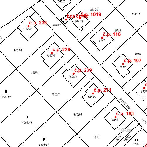 Katastrální mapa Stavební objekt Bílovec 230, Bílovec