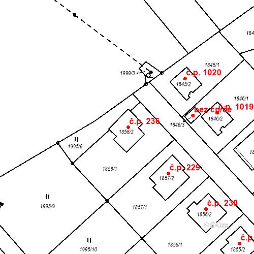 Katastrální mapa Stavební objekt Bílovec 236, Bílovec