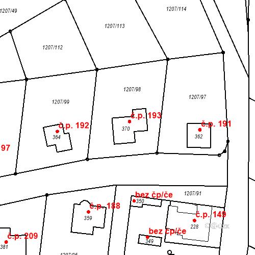 Katastrální mapa Stavební objekt Slatina 193, Slatina