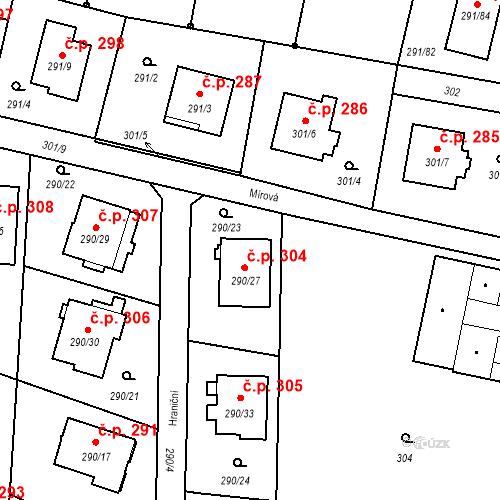 Katastrální mapa Stavební objekt Oldřišov 304, Oldřišov