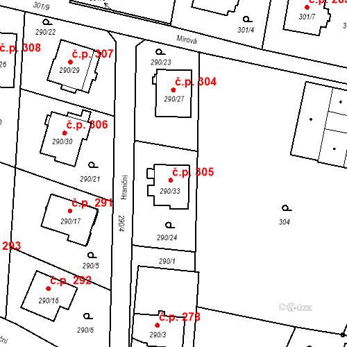 Katastrální mapa Stavební objekt Oldřišov 305, Oldřišov