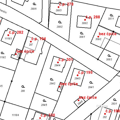 Katastrální mapa Stavební objekt Oldřišov 301, Oldřišov