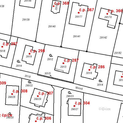 Katastrální mapa Stavební objekt Oldřišov 287, Oldřišov