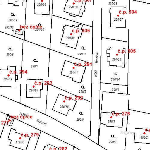 Katastrální mapa Stavební objekt Oldřišov 291, Oldřišov