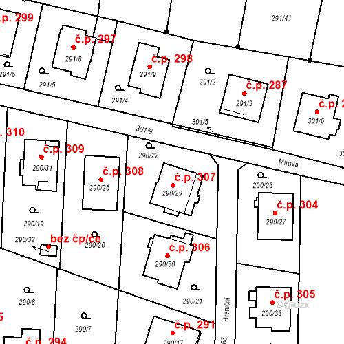 Katastrální mapa Stavební objekt Oldřišov 307, Oldřišov