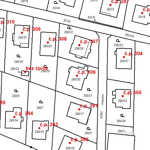 Katastrální mapa Stavební objekt Oldřišov 306, Oldřišov