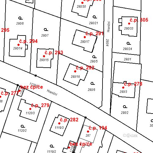 Katastrální mapa Stavební objekt Oldřišov 292, Oldřišov
