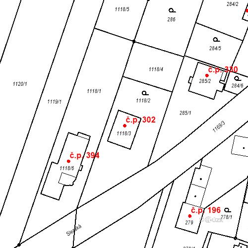 Katastrální mapa Stavební objekt Oldřišov 302, Oldřišov