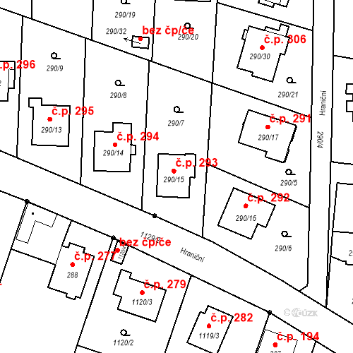 Katastrální mapa Stavební objekt Oldřišov 293, Oldřišov