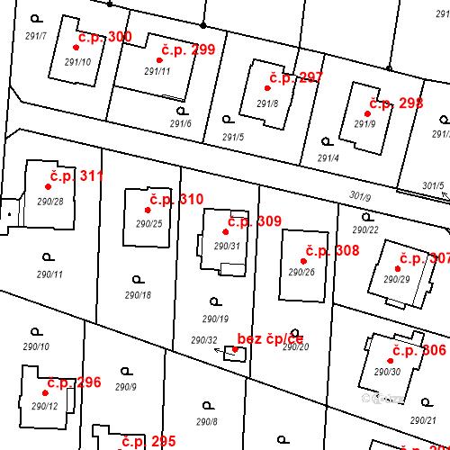 Katastrální mapa Stavební objekt Oldřišov 309, Oldřišov